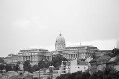Buda Castle e Royal Palace, Budapest nel monocromio Fotografie Stock Libere da Diritti
