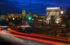 Buda Castle ed il ponte a catena a Budapest immagine stock libera da diritti
