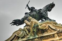 Buda Castle en het standbeeld van Prins Eugene van Savooiekool Royalty-vrije Stock Afbeeldingen