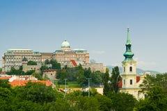 Buda Castle en Royal Palace Stock Foto's