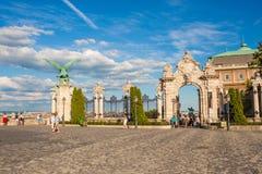 Buda Castle entrance gate and Turul eagle statue, Budapest, Hung Stock Photos