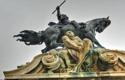 Buda Castle et la statue de prince Eugene de la Savoie Photo stock