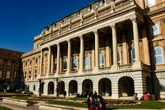 Buda Castle facade, Budapest. Buda Castle - The façade of the cour d`honneur constructed under Hillebrandt in the 1760s, Budapest, Hungary stock image