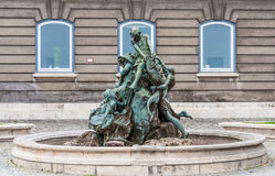 Buda Castle Fishing Fountain Royalty Free Stock Image
