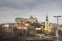 Buda Castle is the historical castle and palace complex. Of the Hungarian kings in Budapest royalty free stock photos