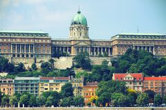 A beautiful panoramic view of Buda Castle. Buda Castle is the historical castle and palace complex of the Hungarian kings in Budapest. It was first completed in stock image