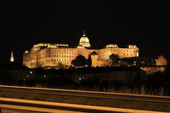 Buda Castle by night, Budapest, Hungary, Europe. Buda Castle is a historical castle and palace complex of the Hungarian kings in Budapest. It was first completed royalty free stock images
