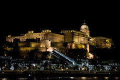 Buda Castle. Illuminated at night, Budapest, Hungary stock photography
