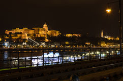 Buda Castle in lights, night photo of Budapest with Danube, Hung Royalty Free Stock Image