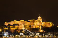 Buda Castle in lights, night photo of Budapest, Hungary. Royalty Free Stock Photo