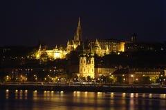 Buda castle with mathias churc. H by night, budapest stock photo