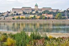 Buda Castle-mening over de rivier van Donau royalty-vrije stock foto