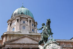 Buda Castle and Monument of Prince Eugene of Savoy, Budapest, Hungary. Stock Photos
