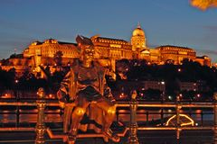 Buda Castle At Night. From Pest Royalty Free Stock Photo