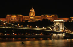 Buda Castle at night. Nightimet photo of Budapest Castle and chain bridge by night as viewed from Pest side Stock Photography