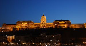 Buda Castle at night. Bottom view and night scene of Buda Castle located in Budapest, Hungary royalty free stock photos