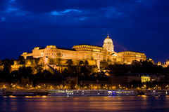 Buda Castle at Night in Budapest Royalty Free Stock Photo