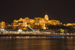 Buda Castle. At night in Budapest Royalty Free Stock Photos