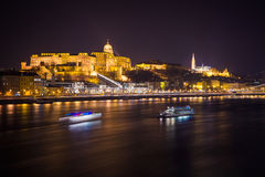 Buda Castle. At night in Budapest stock photos