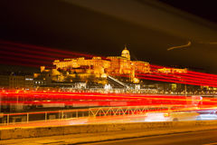 Buda Castle. At night in Budapest stock photo
