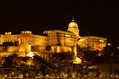 Buda Castle at night in Budapest Stock Photos
