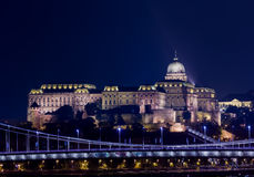Buda Castle at night in Budapest Stock Image