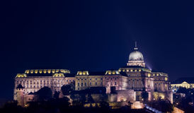 Buda Castle at night in Budapest Stock Photo