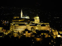 Buda Castle by night. View of Buda Castle from Citadella (Budapest Stock Photography