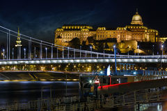 Buda castle night view stock image