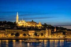 Buda Castle och Donauen i Budapest Arkivfoton