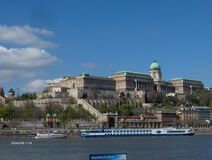 buda-castle-from-other-side-of-danube stock images