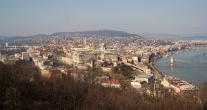 Buda Castle panorama. Panorama of Budapest city centre with dominant Buda Castle stock photos