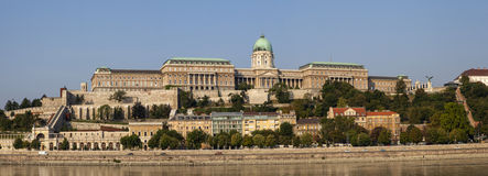 Buda Castle Panorama. Panoramic view of the magnificent Buda Castle in Budapest, Hungary Stock Photo