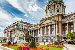 Buda Castle and Prince Eugene of Savoy. Buda Castle and equestrian  statue of Prince Eugene of Savoy in Budapest, Hungary Royalty Free Stock Photos