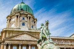 Buda Castle and Prince Eugene of Savoy. Buda Castle and equestrian  statue of Prince Eugene of Savoy in Budapest, Hungary Royalty Free Stock Photo