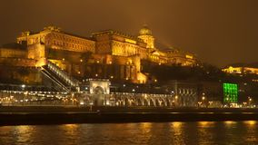 Buda Castle - residence of Hungarian kings in Budapest. Night time. Video taken from a floating ship stock video
