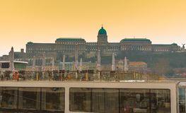 Buda Castle Royal Palace in Budapest, Hungary at sunset with colorful sky.  royalty free stock photos