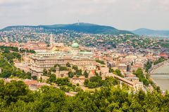 Buda Castle Royal Palace on Castle Hill, Budapest, Hungary. View from Gellert Hill, beautiful cityscape royalty free stock image