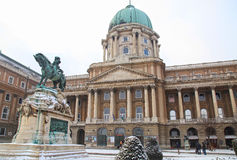 Buda Castle or Royal Palace with horse statue, Budapest, Hungary. BUDAPEST, HUNGARY - JANUARY 5, 2016: Buda Castle or Royal Palace with horse statue, Budapest Stock Images