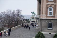 Buda Castle or Royal Palace with horse statue, Budapest, Hungary. Buda Castle or Royal Palace with horse statue, Budapest, Hungary in a rainy day royalty free stock photography