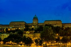 Buda Castle (Royal Palace) image after the sunset royalty free stock photos