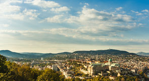 Buda Castle with Royal Palace and Matthias Church in Budapest, Hungary. View from the Gellert Hill stock photo