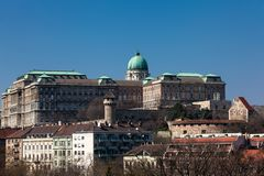 Buda Castle seen from the Garden of Philosophy. Located at Gellert Hill royalty free stock images