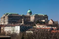 Buda Castle seen from the Garden of Philosophy. Located at Gellert Hill stock photo
