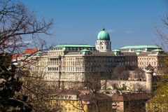 Buda Castle seen from the Garden of Philosophy. Located at Gellert Hill royalty free stock photo