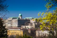 Buda Castle seen from the Garden of Philosophy. Located at Gellert Hill stock images