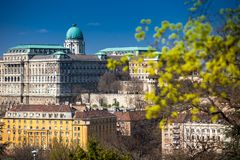 Buda Castle seen from the Garden of Philosophy. Located at Gellert Hill royalty free stock photography