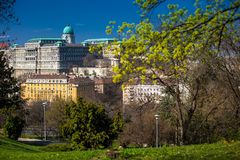 Buda Castle seen from the Garden of Philosophy. Located at Gellert Hill stock photography