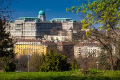 Buda Castle seen from the Garden of Philosophy. Located at Gellert Hill royalty free stock photos