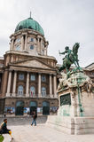 Buda Castle and the statue of Prince Eugene Stock Photos